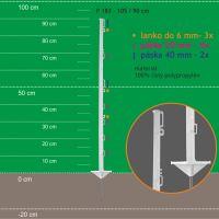 Stojka pro výpas 105/90cm, kov. hrot, bílá