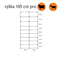 Vodivá síť pro kozy KOMBI, výška 105 cm, délka 50 m, 2hroty
