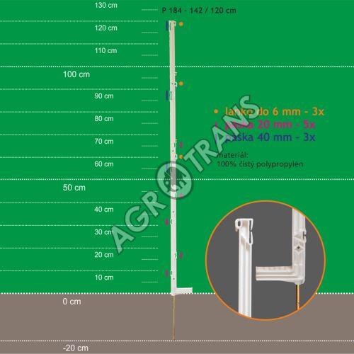 Stojka pro výpas 142/120cm, kov. hrot, bílá